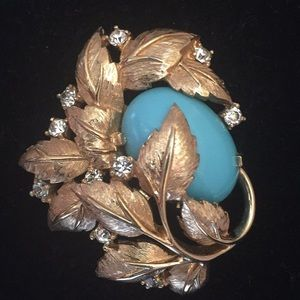 RARE JOMAZ Leaf Brooch with clear & teal stones